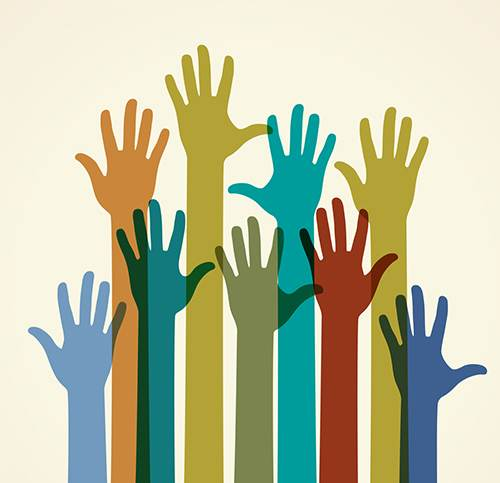 Colorful Raised Hands. The Concept Of Diversity. Group Of Hands.